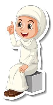 Szablon naklejki z postacią z kreskówki muzułmańskiej dziewczyny