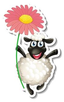 Szablon naklejki z postacią z kreskówki owcy trzymającej kwiat na białym tle
