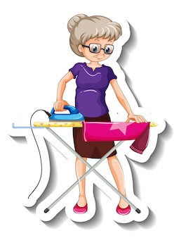 Szablon naklejki z postacią z kreskówki starej kobiety do prasowania koszuli
