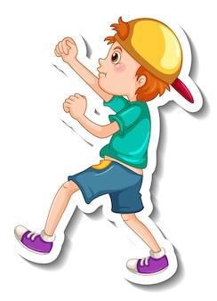 Szablon naklejki z postacią z kreskówki szczęśliwy chłopiec na białym tle