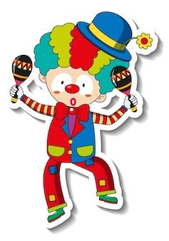Szablon naklejki z postacią z kreskówki szczęśliwy klaun na białym tle