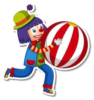 Szablon naklejki z postacią z kreskówki szczęśliwy klaun