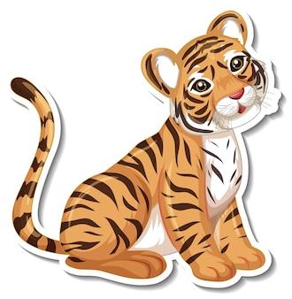 Szablon naklejki z postacią z kreskówki tygrysa