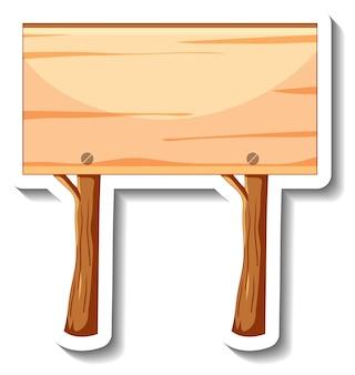 Szablon naklejki z pustym drewnianym znakiem na białym tle
