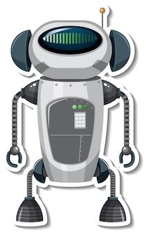 Szablon naklejki z robotem w stylu kreskówki