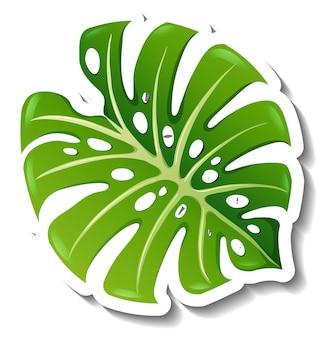 Szablon naklejki z tropikalnym liściem na białym tle