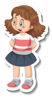 Szablon naklejki z tyłu izolowanej postaci z kreskówki dziewczyny