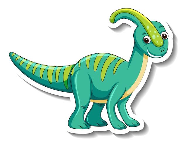 Szablon naklejki z uroczą postacią z kreskówki dinozaura na białym tle