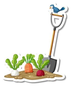 Szablon naklejki z warzywami korzeniowymi i łopatą na białym tle