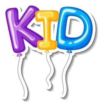 Szablon naklejki z wieloma balonami z literami