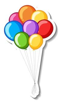 Szablon naklejki z wieloma kolorowymi balonami