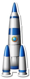 Szablon naklejki z wyizolowaną kreskówką rakiety kosmicznej