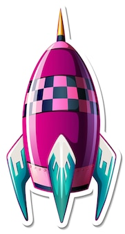 Szablon naklejki z wyizolowaną kreskówką rakiety