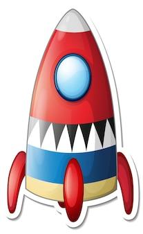 Szablon naklejki z wyizolowaną kreskówką statku kosmicznego