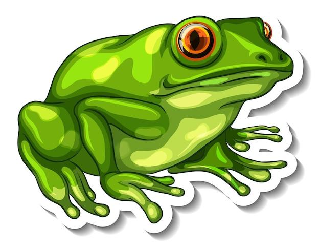 Szablon naklejki z zieloną żabą na białym tle