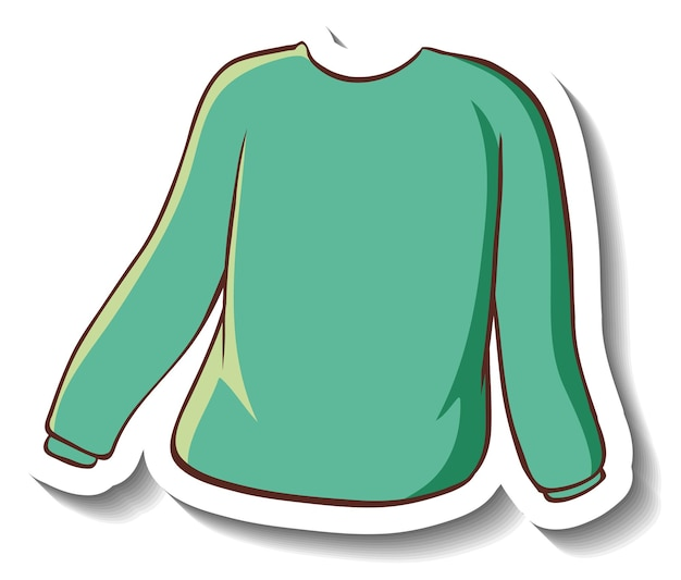 Szablon naklejki z zielonym swetrem na białym tle