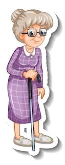 Szablon naklejki ze starą kobietą w pozie stojącej