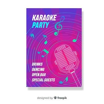 Szablon nocnego plakatu lub ulotki karaoke