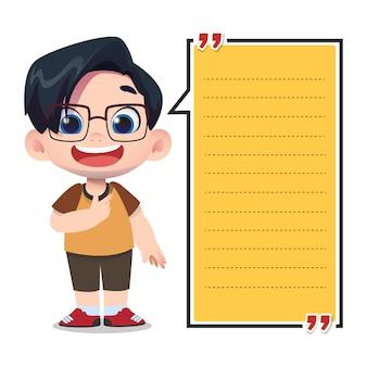 Szablon notatki papieru z uroczymi postaciami dla dzieci
