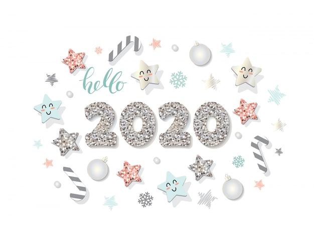 Szablon nowego roku 2020. świąteczne elementy dekoracyjne.