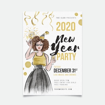 Szablon nowego roku akwarela ulotki strony