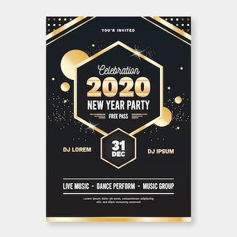 Szablon nowego roku ulotki party w płaskiej konstrukcji