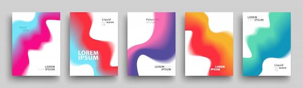 Szablon nowoczesne okładki, zestaw modnych abstrakcyjnych kształtów gradientu