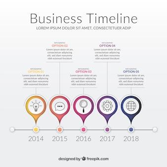 Szablon nowoczesnego biznesu na osi czasu