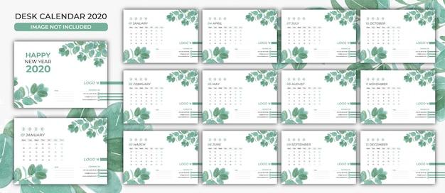 Szablon nowoczesnego kalendarza biurkowego 2020