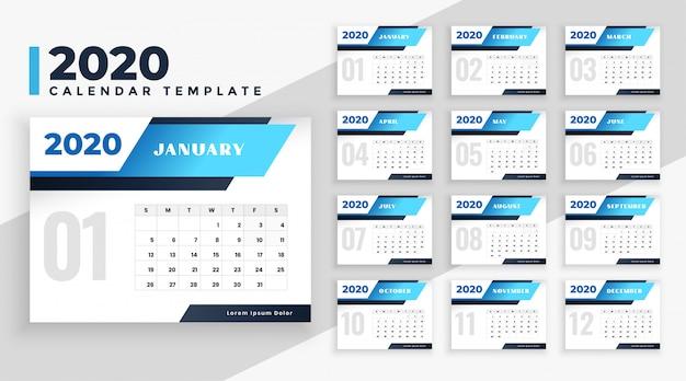 Szablon nowoczesnego układu kalendarza 2020