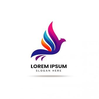 Szablon nowoczesny kolorowy ptak logo