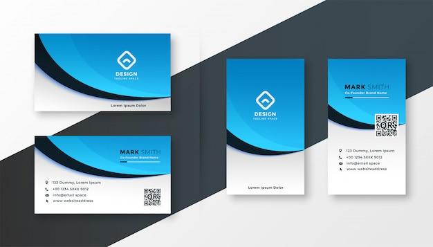 Szablon nowoczesny niebieski faliste wizytówki
