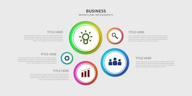 Szablon nowoczesny plansza przepływu pracy, grafika procesu biznesowego z wieloma opcjami