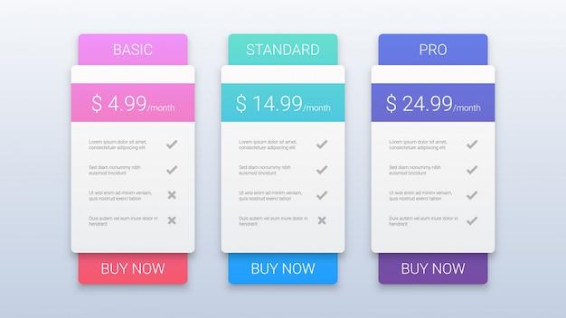 Szablon nowoczesnych planów cen dla sieci web