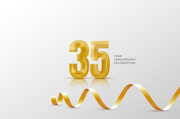 Szablon obchodów rocznicy trzydziestu pięciu lat ze złotym numerem