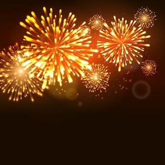 Szablon obchodów święta fajerwerków nowego roku. fajerwerków płomień wydarzenie karnawałowe tło.
