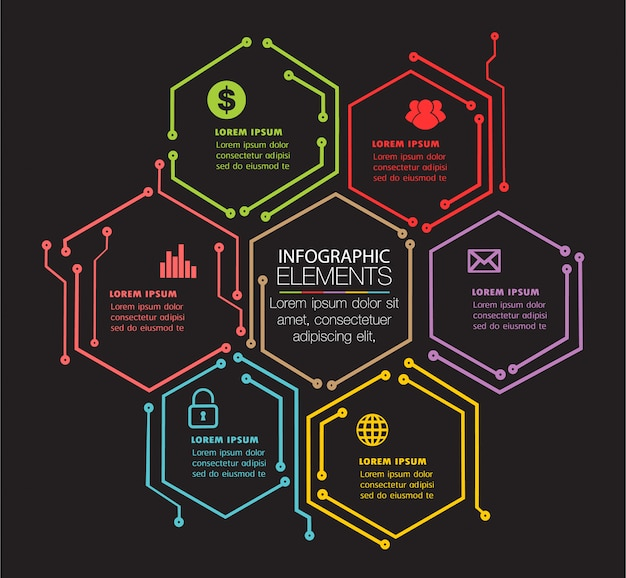 Szablon obwodu pole tekstowe na stronie internetowej, transparent infografiki