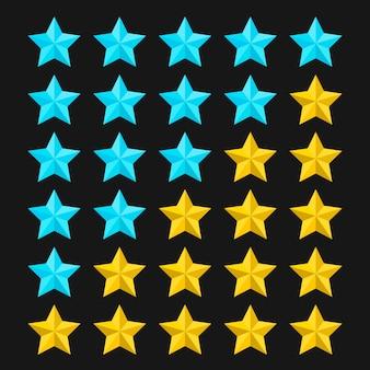 Szablon oceny w postaci gwiazdek z kolorowymi gwiazdkami. koncepcje jakości produktu lub usługi. ocena gwiazdek na czarnym tle. ilustracja.