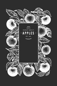 Szablon oddziału apple. ręka rysująca ogrodowa owocowa ilustracja na kredowej desce. grawerowana rama owocowa. retro transparent botaniczny.