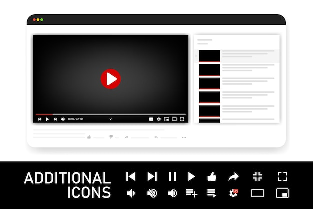 Szablon odtwarzacza wideo dla aplikacji internetowych lub mobilnych. ilustracja wektorowa.