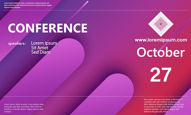 Szablon ogłoszenia konferencji. zaplecze biznesowe. konferencja abstrakcyjna. ilustracja kolor.