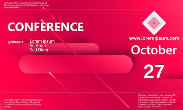 Szablon ogłoszenia o konferencji. zaplecze biznesowe. streszczenie projektu konferencji. ilustracja wektorowa kolor.