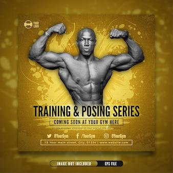 Szablon ogłoszenia o treningu fitness siłownia post instagram