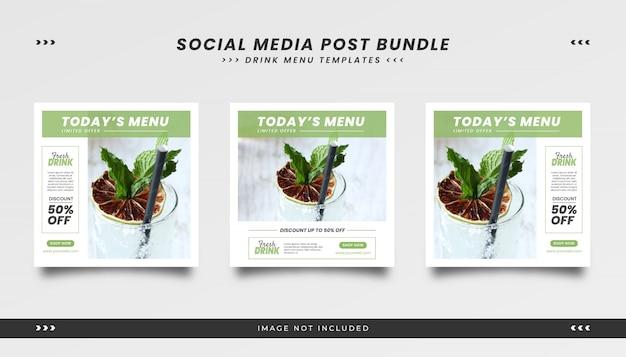 Szablon ogłoszenia w mediach społecznościowych dla menu drinków