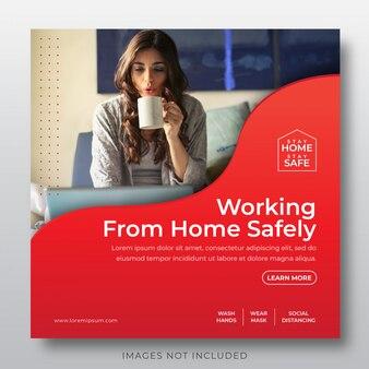Szablon ogłoszenia w mediach społecznościowych z wirusem koronowym - zostań w domu, zachowaj, pracuj w domu