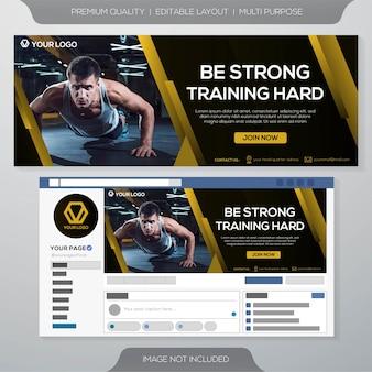 Szablon okładka fitness siłownia facebook