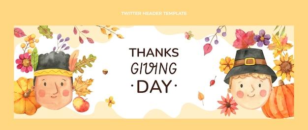 Szablon okładki akwareli dziękczynienia na twitter