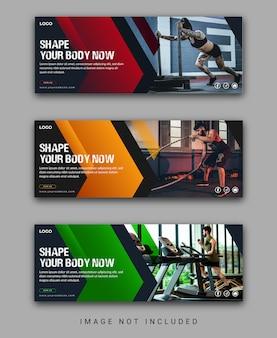 Szablon okładki fitness media społecznościowe