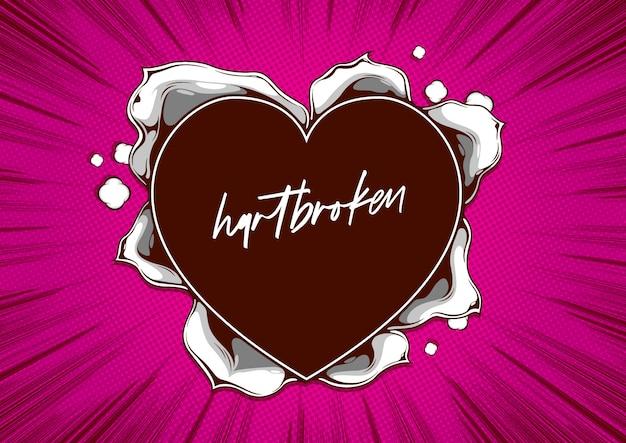 Szablon okładki komiksu, rozdarty papier w kształcie serca na różowo.