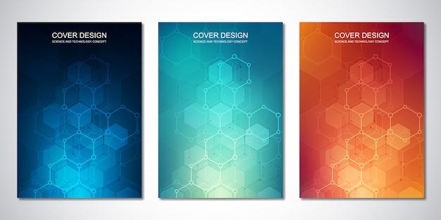 Szablon okładki lub broszury, z sześciokątami i zapleczem technologicznym.